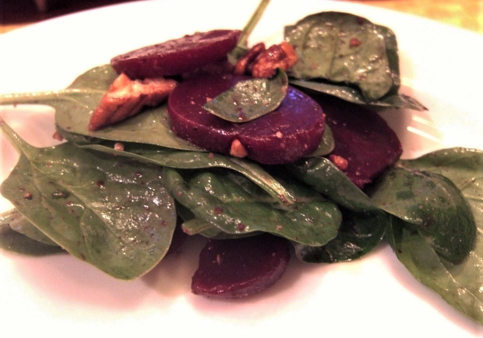 Perfect One-Dish Dinners: Baby Spinach with Beets and Toasted Walnuts