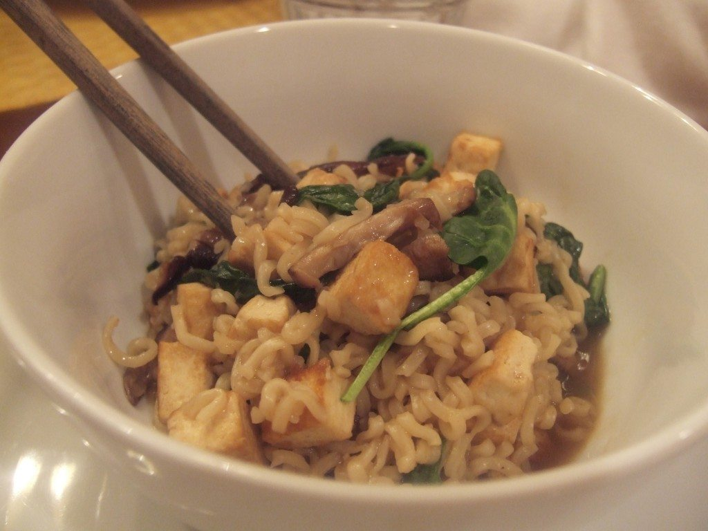 Hot and Sour Ramen with Tofu, Shiitakes and Spinach (adapted from Best 30-Minute Recipe)