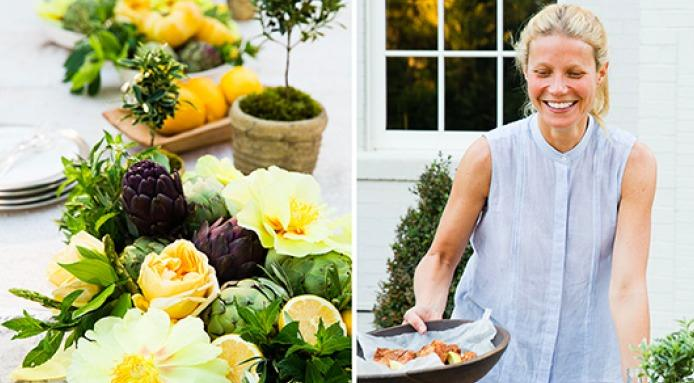 Gwyneth Paltrow serving a beautiful fall dish