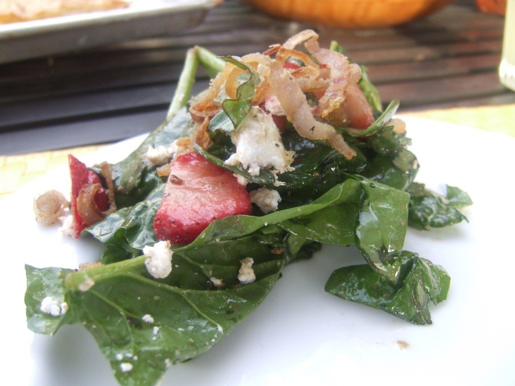 Spinach Salad with Crispy Shallots and Strawberries