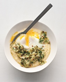 Poached Eggs Polenta and Marinated Artichokes