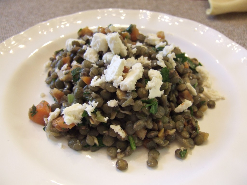 French Lentil Salad with Goat Cheese and Walnuts