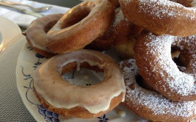 Maple Glazed Sour Cream Doughnuts with (or without) Sugared Walnut Streusel