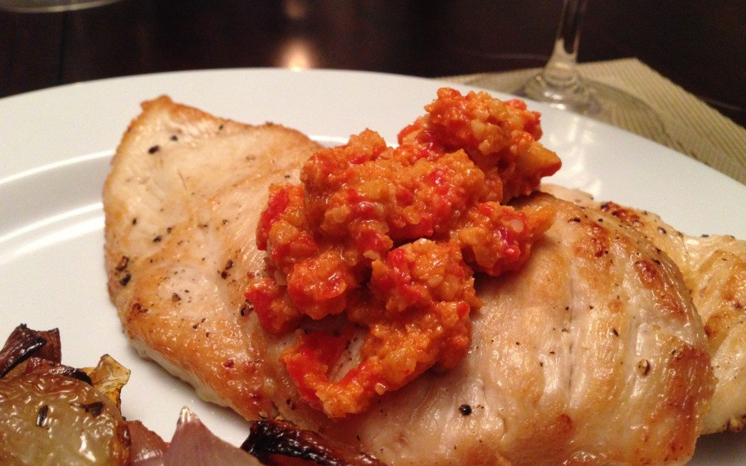 Sauteed Chicken Cutlets with Roasted Red Pepper Sauce