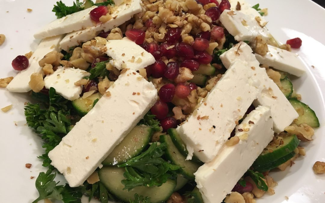 Parsley-Cucumber Salad with Feta, Pomegranate and Walnuts