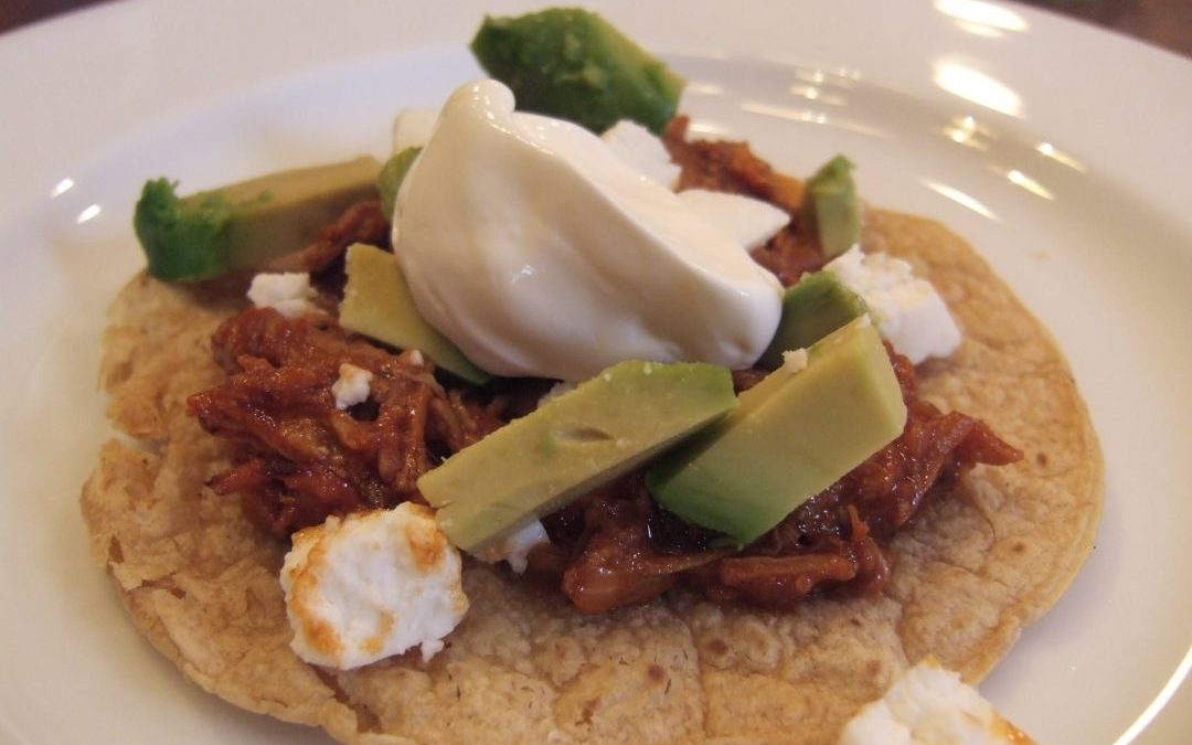 Spicy Shredded Mexican Pork Tostadas (Tinga)